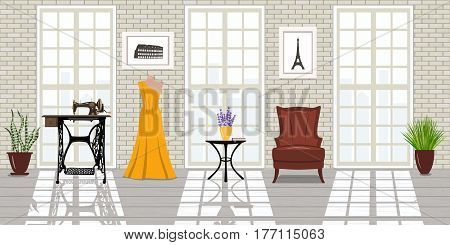 Fashion salon, Loft space Interior. Big windows, brick white walls, sunlight. Tailor workplace. Vogue studio, wooden floor, Dummy, dress, chair, sewing-machine, desk. room concept. cozy 3d design
