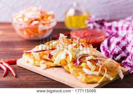 Pupuseria, Pupusa - Corn Flour Tortillas With Cheese And Beans