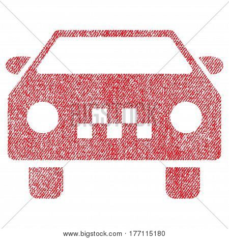 Taxi Car vector textured icon for overlay watermark stamps. Fabric red vectorized texture. Symbol with dust design. Rubber seal stamp with fiber textile structure.