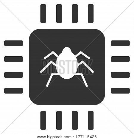 Hardware Bug vector icon. Flat gray symbol. Pictogram is isolated on a white background. Designed for web and software interfaces.