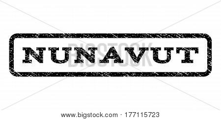 Nunavut watermark stamp. Text tag inside rounded rectangle with grunge design style. Rubber seal stamp with unclean texture. Vector black ink imprint on a white background.