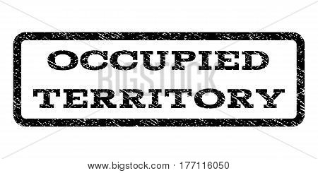 Occupied Territory watermark stamp. Text tag inside rounded rectangle frame with grunge design style. Rubber seal stamp with dirty texture. Vector black ink imprint on a white background.