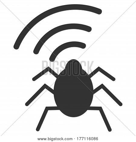 Radio Bug vector icon. Flat gray symbol. Pictogram is isolated on a white background. Designed for web and software interfaces.