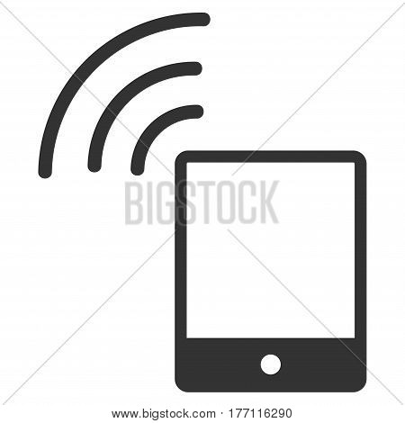 Smartphone Wi-Fi Signal vector icon. Flat gray symbol. Pictogram is isolated on a white background. Designed for web and software interfaces.