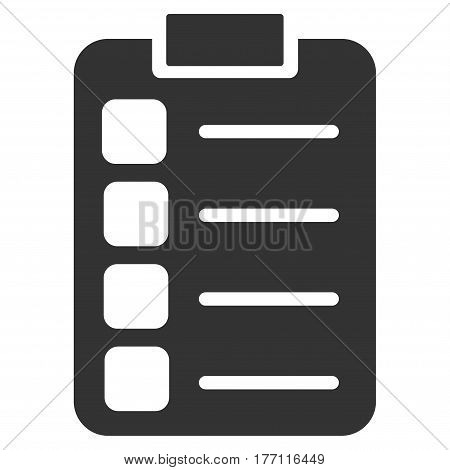 Tasks vector icon. Flat gray symbol. Pictogram is isolated on a white background. Designed for web and software interfaces.