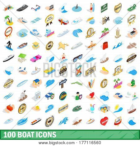 100 boat icons set in isometric 3d style for any design vector illustration