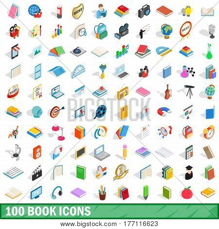 100 book icons set in isometric 3d style for any design vector illustration