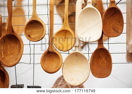 Famous handicraft mart Kaziukas in Vilnius, Lithuania: wooden homemade spoons