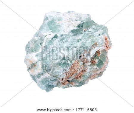 Raw green fluorite natural chunk isolated on white background