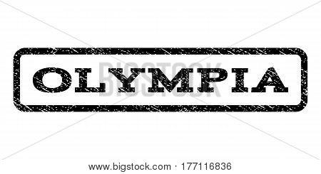 Olympia watermark stamp. Text caption inside rounded rectangle frame with grunge design style. Rubber seal stamp with dirty texture. Vector black ink imprint on a white background.