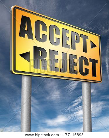 accept reject approve or decline and refuse offer proposal or invitation, yes or no  3D, illustration