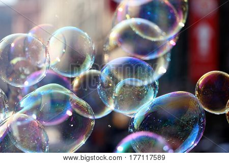 transparent soap bubbles fly on the air