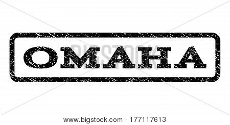 Omaha watermark stamp. Text tag inside rounded rectangle with grunge design style. Rubber seal stamp with unclean texture. Vector black ink imprint on a white background.