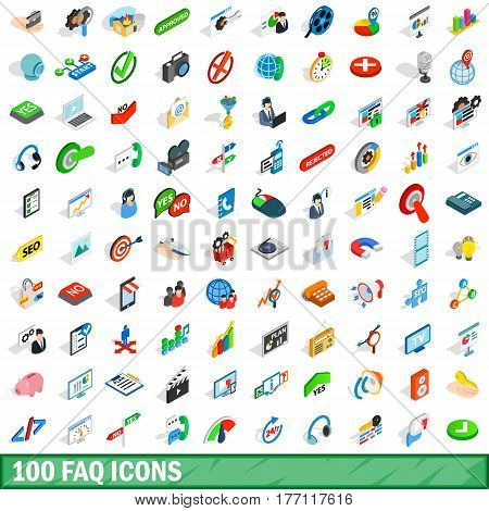 100 faq icons set in isometric 3d style for any design vector illustration