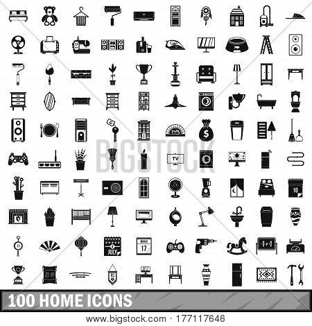 100 home icons set in simple style for any design vector illustration