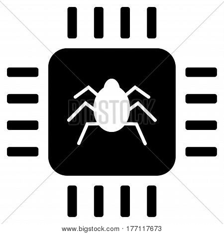 Hardware Bug vector icon. Flat black symbol. Pictogram is isolated on a white background. Designed for web and software interfaces.