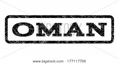 Oman watermark stamp. Text tag inside rounded rectangle frame with grunge design style. Rubber seal stamp with dust texture. Vector black ink imprint on a white background.