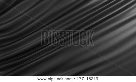Background with black silk. Graphic illustration. 3D rendering.