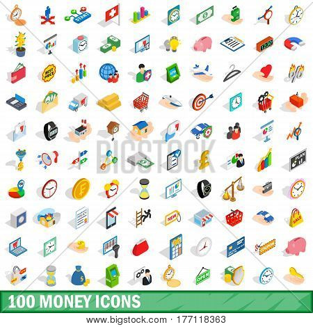 100 money icons set in isometric 3d style for any design vector illustration