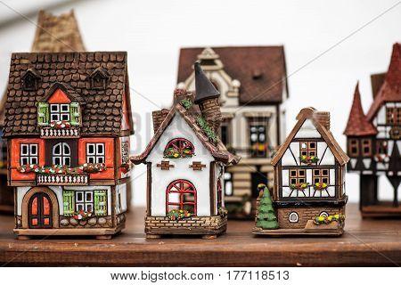 Famous handicraft mart Kaziukas in Vilnius, Lithuania: ceramic houses