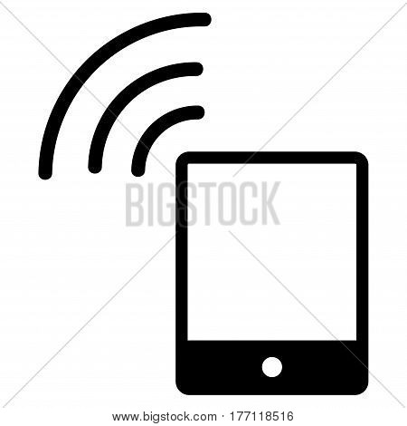Smartphone Wi-Fi Signal vector icon. Flat black symbol. Pictogram is isolated on a white background. Designed for web and software interfaces.