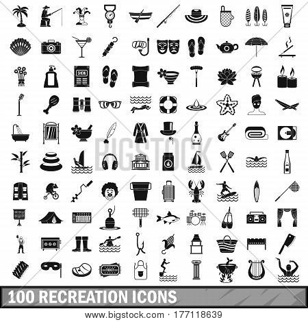 100 recreation icons set in simple style for any design vector illustration