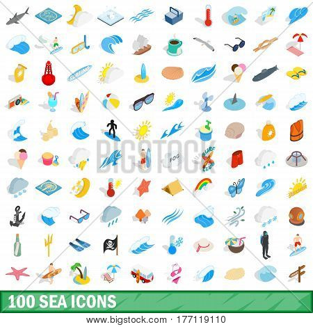 100 sea icons set in isometric 3d style for any design vector illustration
