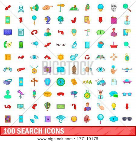 100 search icons set in cartoon style for any design vector illustration