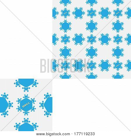 Seamless geometric gray and blue hexagon pattern with text and pattern unit.