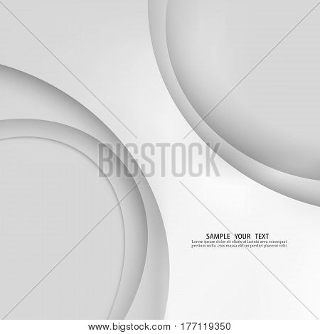 Grey vector Template Abstract background with curves lines and shadow. For flyer, brochure, booklet and websites design. Grey line. Grey wave. Grey curve line
