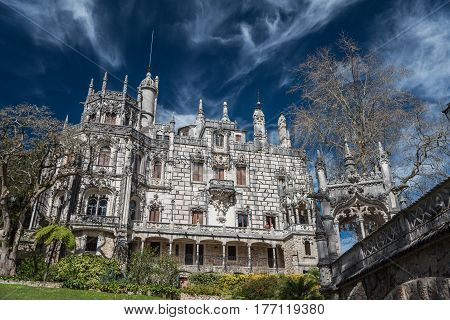 The Regeleira Palace, Quinta da Regaleira, as seen from the bridge over the lower gate, Sintra, Portugal