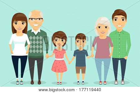 Close-knit family. Grandparents holding hands grandchildren. In a flat style, cartoon. Happy family.