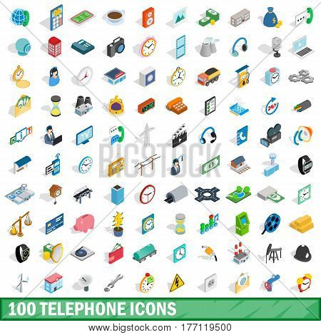 100 telephone icons set in isometric 3d style for any design vector illustration