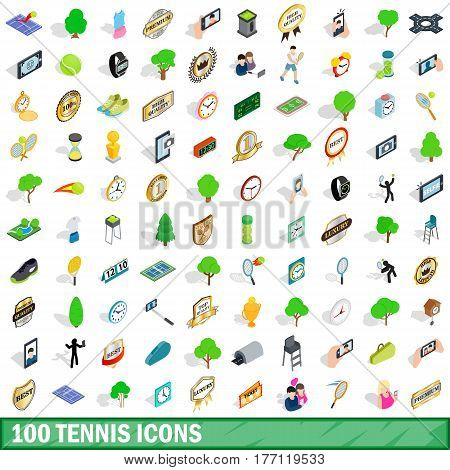 100 tennis icons set in isometric 3d style for any design vector illustration