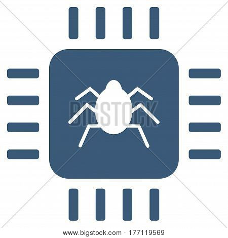 Hardware Bug vector icon. Flat blue symbol. Pictogram is isolated on a white background. Designed for web and software interfaces.