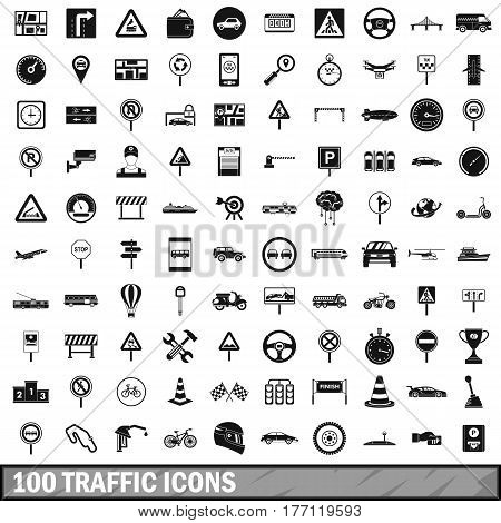 100 traffic icons set in simple style for any design vector illustration