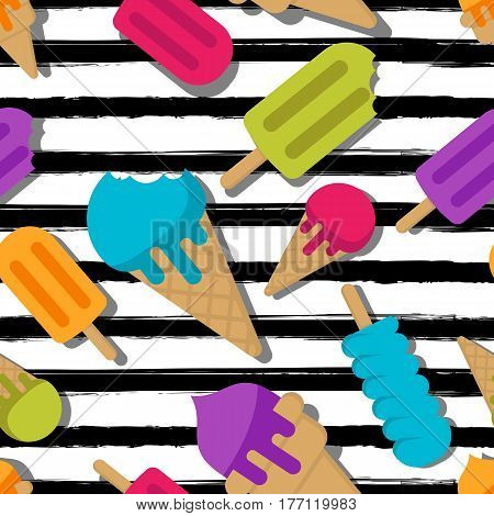 Vector Seamless Summer Pattern. Multicolor Ice Cream On Black Watercolor Striped Background.