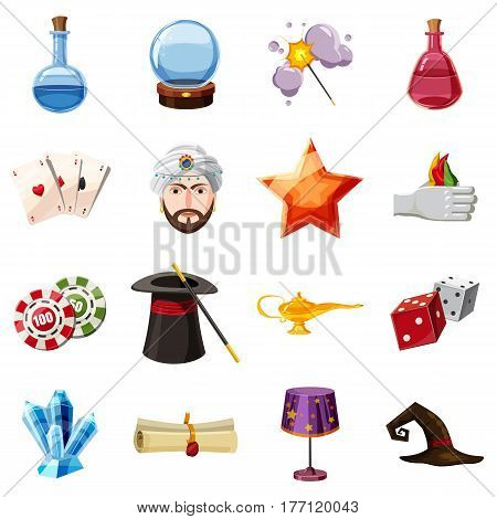 Magician icons set items. Cartoon illustration of 16 magician items vector icons for web
