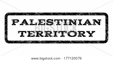 Palestinian Territory watermark stamp. Text tag inside rounded rectangle with grunge design style. Rubber seal stamp with unclean texture. Vector black ink imprint on a white background.