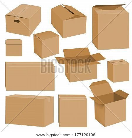 Cardboard box mockup set. Realistic illustration of 10 cardboard box mockups for web