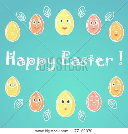 A greeting card for Easter with emotional bright colored Easter eggs white lines for decoration with a font in the middle of the card. Funny fancy font.