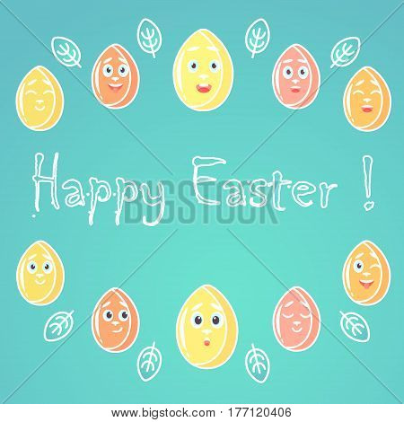 A greeting card for Easter with emotional bright colored Easter eggs white lines for decoration with a font in the middle of the card.