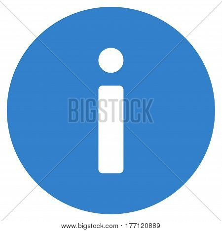 Info vector icon. Flat cobalt symbol. Pictogram is isolated on a white background. Designed for web and software interfaces.