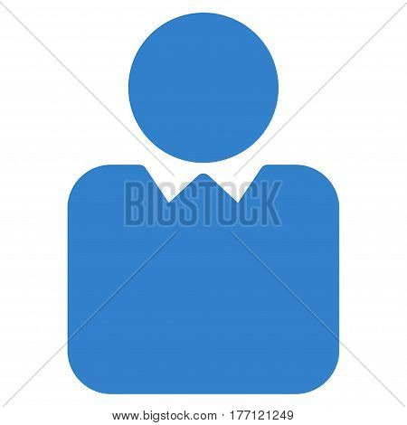 Person vector icon. Flat cobalt symbol. Pictogram is isolated on a white background. Designed for web and software interfaces.