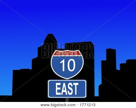 Houston With Interstate 10 Sign