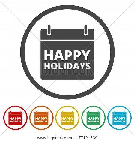 Colorfull vector eps10 illustration. Happy Holidays on white background