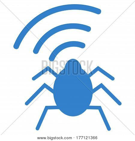 Radio Bug vector icon. Flat cobalt symbol. Pictogram is isolated on a white background. Designed for web and software interfaces.