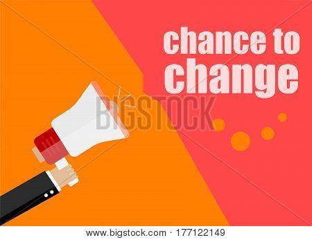 Flat Design Business Concept. Chance To Change. Digital Marketing Business Man Holding Megaphone For