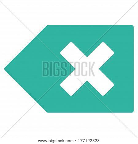 Backspace vector icon. Flat cyan symbol. Pictogram is isolated on a white background. Designed for web and software interfaces.