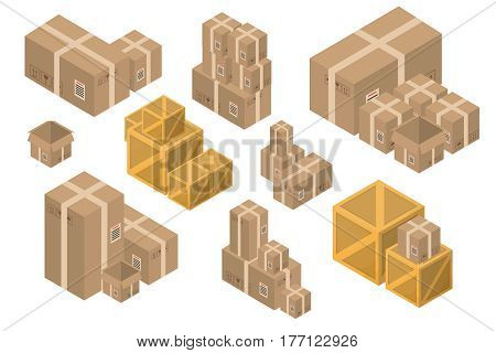 Vector collection of isometric delivery cardboard boxes on the white background. Concept of delivery, transportation and gift.